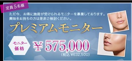 ただ今、お得に施術が受けられるモニターを募集しております。 モニターキャンペーン ミッド+アッパーフェイス(顔中部+上部)  [一般価格]¥748,000 →モニター価格 ¥478,000 定員 5名様